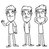 Friend. Sketch cartoon illustration of three friend smiling Royalty Free Stock Images