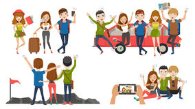 Friend trip. Couple travel relaxing on top of a hill. Traveling along mountains and coast sunset, Take pictures together. Check in lobby hotel. The honeymoon vector illustration