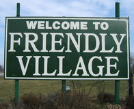 Friendly!. Welcome to frendly village sign Royalty Free Stock Photos
