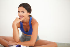 Friendly adult woman doing sports training Stock Image