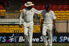 Friendly advice sport. Harbhajan Singh captaining Rest of India has a word with Ashoke Dinda Stock Images