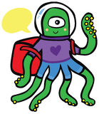 Friendly Alien Astronaut Traveler with Backpack Royalty Free Stock Images