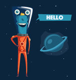 Friendly alien. Cartoon vector illustration. Ufo. Retro poster. Space theme. Funny monster mutant character Royalty Free Stock Photos