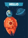 Friendly alien. Cartoon vector illustration royalty free illustration
