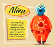 Friendly alien. Cartoon vector illustration stock illustration