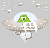 Friendly alien in spaceship Royalty Free Stock Photo