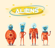 Friendly aliens. Cartoon illustration. Ufo. Retro poster. Space theme. Funny monsters mutant character. Web banner Royalty Free Stock Photos