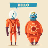 Friendly aliens. Cartoon vector illustration. Ufo. Retro poster. Space theme. Funny monsters mutant character Royalty Free Stock Photos