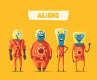 Friendly aliens. Cartoon vector illustration. Ufo. Retro poster. Space theme. Funny monsters mutant character Stock Images