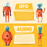 Friendly aliens. Cartoon vector illustration Stock Photo