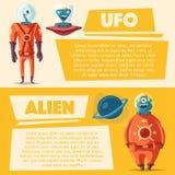 Friendly aliens. Cartoon vector illustration vector illustration