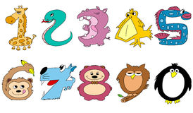 Friendly animal numbers. 1-0 Royalty Free Stock Photo