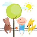 Friendly animals and kid cute funny friends cartoon sitting high Stock Photos