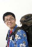 Friendly asian backpacker