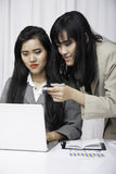 Friendly assistants. Portrait image of businesswomen assistants working in front of laptop in office stock image