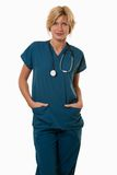 Friendly attractive healthcare worker doctor nurse Royalty Free Stock Photo