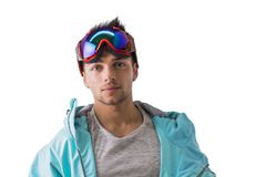 Friendly attractive young male skier or snowboarder Royalty Free Stock Photo