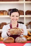 Friendly bakery assistant or worker Stock Images