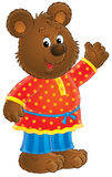 Friendly bear illustration. Friendly bear character waving illustration Royalty Free Stock Photo