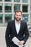Friendly bearded businessman royalty free stock images
