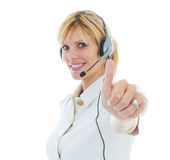 Friendly Beautiful Blonde Telemarketer Royalty Free Stock Photo