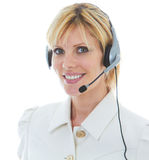 Friendly Beautiful Blonde Telemarketer Stock Photo