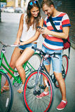 Friendly bicyclists Stock Photography