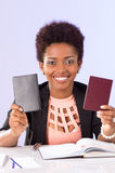 Friendly black office woman working Royalty Free Stock Photography