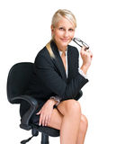 Friendly blond business woman. Stock Photo