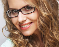 friendly blond woman with glasses Royalty Free Stock Image
