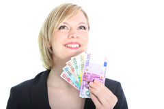 Friendly Blonde Woman Holding Euro Notes Stock Photo