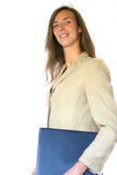 Friendly brunette carrying laptop royalty free stock images