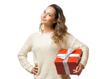 Friendly  brunette with red gift box Stock Photo