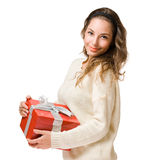 Friendly  brunette with red gift box Stock Photography