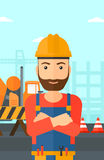 Friendly builder with arms crossed. Stock Images