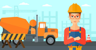 Friendly builder with arms crossed. Royalty Free Stock Photography