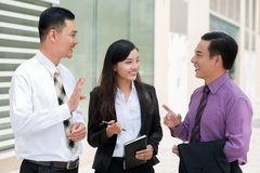 Hey, you are right!. Friendly business discussion of co-workers Royalty Free Stock Photo