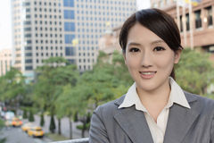 Friendly business woman of Asian with copyspace Royalty Free Stock Image