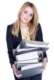 Friendly business woman drags folder Royalty Free Stock Images