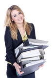 Friendly business woman drags folder Stock Image