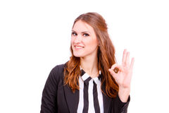 Friendly Business woman giving the OK sign on white background Stock Image