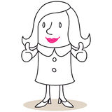 Friendly business woman giving two thumbs up Stock Photo