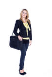 Friendly business woman with laptop bag Stock Images