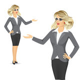 Friendly business woman showing something Royalty Free Stock Photography