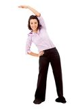 Friendly business woman stretching Royalty Free Stock Photo