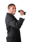 Friendly businessman holding binoculars Stock Image
