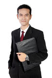 Friendly businessman pose, isolated on white royalty free stock images