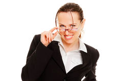 Friendly businesswoman in glasses. Friendly smiley businesswoman in glasses. isolated on white Stock Photography