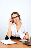 Friendly businesswoman listening Stock Photo