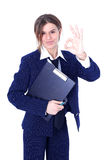 Friendly businesswoman with OK sign Royalty Free Stock Image